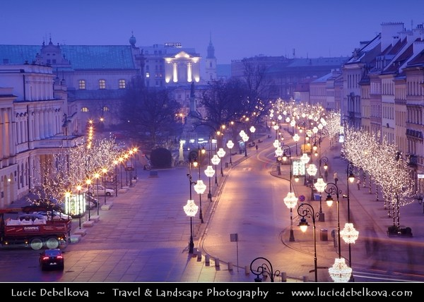 Europe - Poland - Polska - Warsaw - Warszawa - Historic Centre of Warsaw - UNESCO World Heritage Site - Old Town with its churches, palaces & market-place - Krakowskie Przedmieście - Captured during traditional Christmas atmosphere and decorations - Dusk - Twilight - Blue Hour - Night