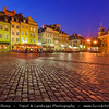 Europe - Poland - Polska - Warsaw - Warszawa - Historic Centre of Warsaw - UNESCO World Heritage Site - Old Town with its churches, palaces & market-place - Castle Square (Plac Zamkowy) with The Royal Castle (Zamek Królewski) - Dusk - Twilight - Blue Hour - Night