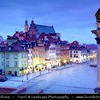 Europe - Poland - Polska - Warsaw - Warszawa - Historic Centre of Warsaw - UNESCO World Heritage Site - Old Town with its churches, palaces & market-place - Castle Square (Plac Zamkowy) with The Royal Castle (Zamek Królewski) & Column of Sigismund 3rd - Illuminated at Dusk - Blue Hour - Twilight - Night - Captured during traditional Christmas atmosphere and decorations