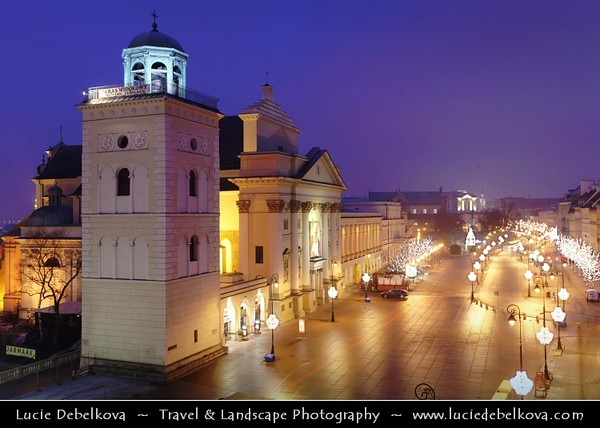 Europe - Poland - Polska - Warsaw - Warszawa - Historic Centre of Warsaw - UNESCO World Heritage Site - Old Town with its churches, palaces & market-place - Castle Square (Plac Zamkowy) & St. Anne's Church - Kościół św. Anny - The St. Anne's bell tower - Dusk - Twilight - Blue Hour - Night