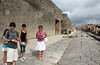 Our gude (in pink shirt), Loretta, on one of the main streets of Pompeii, with Robin, Kit and Marissa.