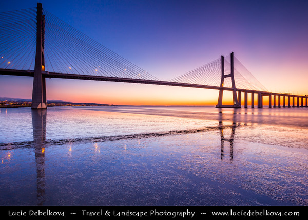 Europe - Portugal - Lisbon - Ponte Vasco da Gama - Vasco da Gama Bridge -  Cable-stayed bridge flanked by viaducts and rangeviews spaning over Tagus River in Parque das Nações - Longest bridge in Europe (including viaducts) with a total length of 12.3 kilometres (7.6 mi)