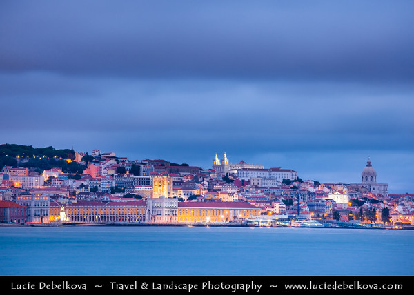 Portugal - Lisbon - Lisboa - Gloomy - Dramatic Cloudy Evening over the city and River Tejo viewed from Shores of Almada