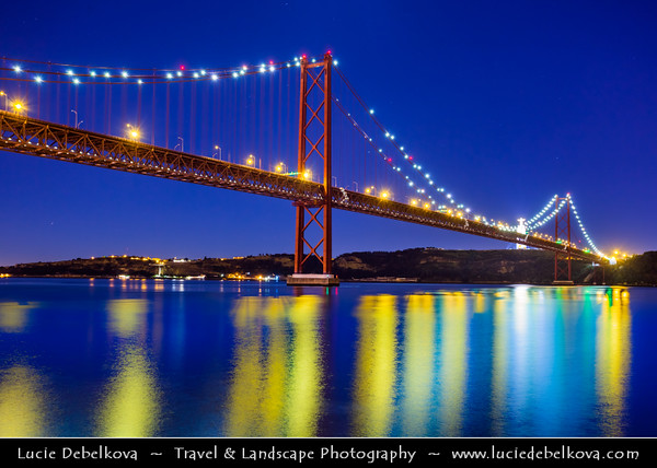 Europe - Portugal - Lisbon - Lisboa - Ponte 25 de Abril - 25th of April Bridge - Iconic suspension bridge over Tagus river