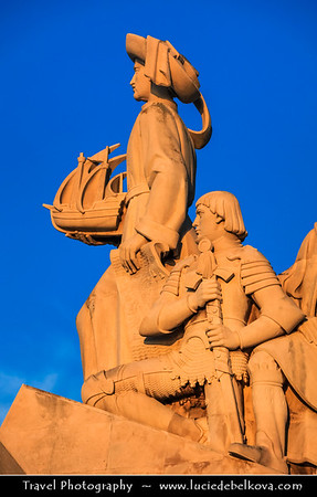 Europe - Portugal - Lisbon - Lisboa - Belem - Padrão dos Descobrimentos - Monument to the Discoveries - Henry the navigator - Iconic monument on northern bank of Tagus River  monument celebrating Portuguese Age of Discovery (or Age of Exploration) during the 15th and 16th centuries