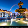 Europe - Portugal - Lisbon - Lisboa - Evening at Rossio Square Praca Dom Pedro IV with iconic fountain and statue Baixa at Dusk - Twilight - Blue Hour - Night - Evening