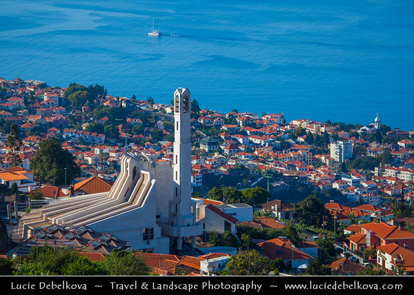 Europe - Portugal - Portuguese archipelago - Madeira Island - South Coast - Funchal - Coastal town on shores of Atlantic Ocean - Cityscape with one of the iconic churches