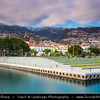 Europe - Portugal - Portuguese archipelago - Madeira Island - South Coast - Funchal - Coastal town on shores of Atlantic Ocean - Picturesque waterfront with marina and new promenade