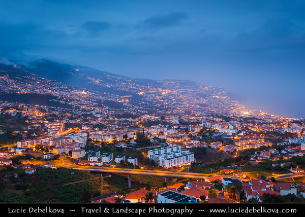 Europe - Portugal - Portuguese archipelago - Madeira Island - South Coast - Funchal - Coastal town on shores of Atlantic Ocean - Panoramic view of Funchal Bay & Madeira's Capital