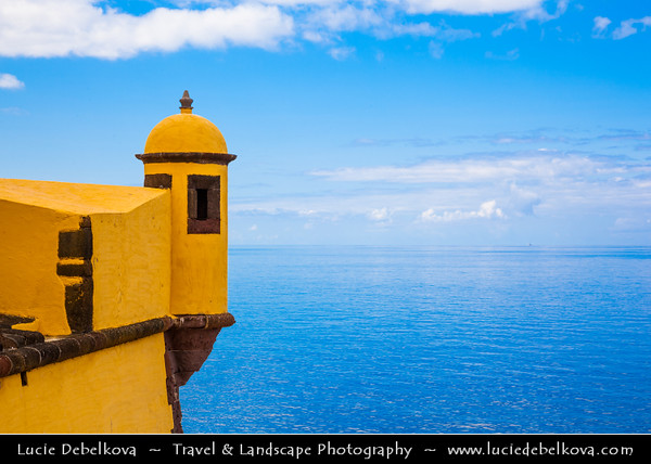 Europe - Portugal - Portuguese archipelago - Madeira Island - South Coast - Funchal - Coastal town on shores of Atlantic Ocean -  Fortaleza de São Tiago - Santiago Fortress - Bright yellow color fort built in military architecture and in old part of Funchal