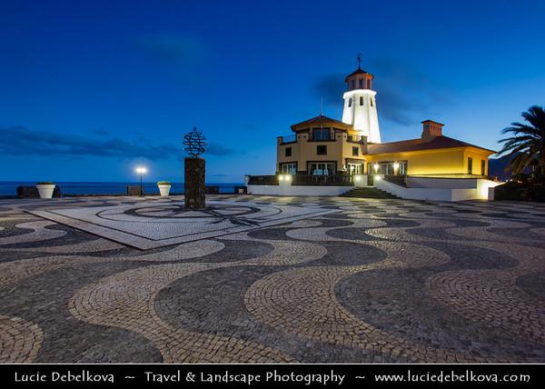 Europe - Portugal - Portuguese archipelago - Madeira Island - East Coast - Ponta de São Lourenço - Sao Lourenco - Beautiful resort village by crystalline ocean waters at Dusk - Twilight - Blue Hour - Night