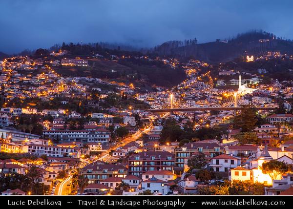 Europe - Portugal - Portuguese archipelago - Madeira Island - South Coast - Funchal - Coastal town on shores of Atlantic Ocean - Old town city skyline
