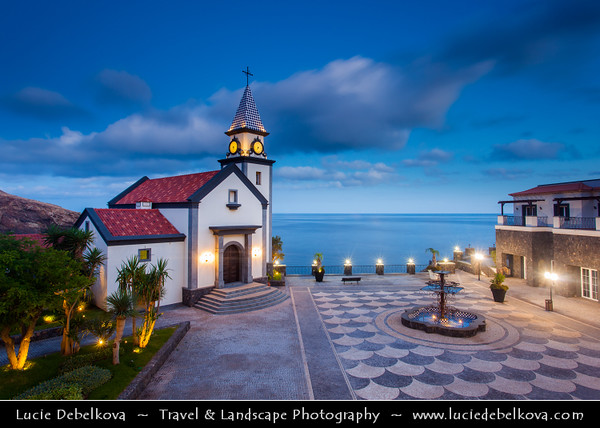 Europe - Portugal - Portuguese archipelago - Madeira Island - East Coast - Ponta de São Lourenço - Sao Lourenco - Beautiful resort village by crystalline ocean waters at Dusk - Twilight - Blue Hour - Night