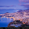 Europe - Portugal - Portuguese archipelago - Madeira Island - South Coast - Funchal City - Panoramic view of Funchal Bay & Madeira's Capital - Coastal town on shores of Atlantic Ocean