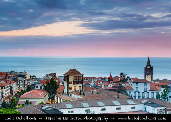 Europe - Portugal - Portuguese archipelago - Madeira Island - South Coast - Funchal - Coastal town on shores of Atlantic Ocean - City Skyline with Cathedral of Our Lady of the Assumption - Sé Catedral de Nossa Senhora da Assunção