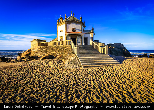 Europe - Portugal - Região Norte - North Region - Porto - Oporto - Capela do Senhor da Pedra - Lord of the Rock - Iconic hexagonal design chapel built on top of rock situated right on shoreline of Atlantic ocean