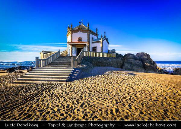 Europe - Portugal - Região Norte - North Region - Porto - Oporto - Capela do Senhor da Pedra - Lord of the Rock - Iconic hexagonal design chapel built on top of rock situated right on shoreline of Atlantic ocean