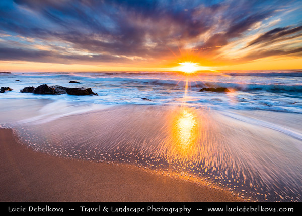 Europe - Portugal - Região Norte - North Region - Porto - Oporto - Sunset on Atlantic ocean sandy beach