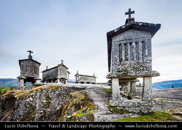 Europe - Portugal - Região Norte - North Region - Soajo - Espigueiros - Tomb-like granaries, traditional stone corn driers and storage built of granite blocks