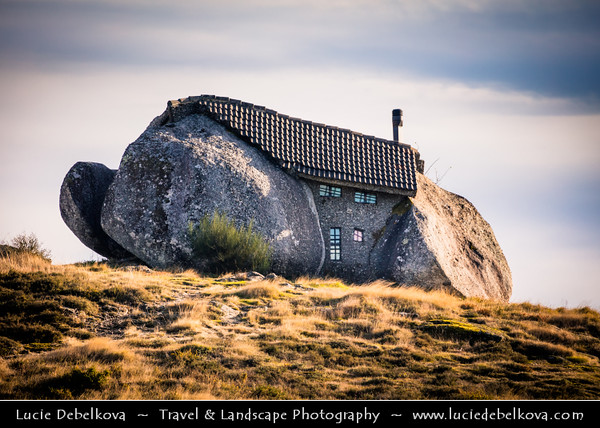 Europe - Portugal - Região Norte - North Region - Casa do Penedo - Stone Castle - Stone House - Architectural monument built from four large granite boulders serving as foundation, walls and ceiling