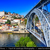 Europe - Portugal - Região Norte - North Region - Porto - Oporto - One of oldest European cities with historical centre proclaimed UNESCO World Heritage Site located along Douro river - Dom Luís I (Luiz I) Bridge - Ponte Luís I (Luiz I) - Iconic double-decked metal arch bridge with total length of 385.25 metres (1,263.9 ft)