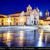 Europe - Portugal - Algarve Region - Lagos - Old historical town at the mouth of the river Bensafrim along the Atlantic Ocean - Oceano Atlântico - Praça Infante Dom Henrique Square - Igreja de Santa Maria - Santa Maria Church at Dusk - Twilight - Blue Hour