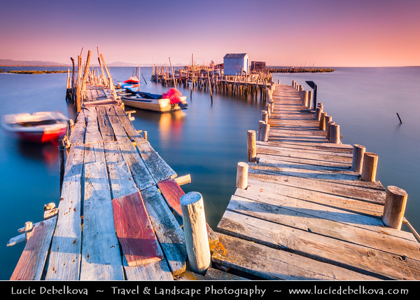 Europe - Portugal - Alcácer do Sal - Palafito Pier of Carrasqueira - Masterpiece of folk architecture - Palafito pier spanning hundreds of meters by muddy creeks of the River Sado - Sunrise