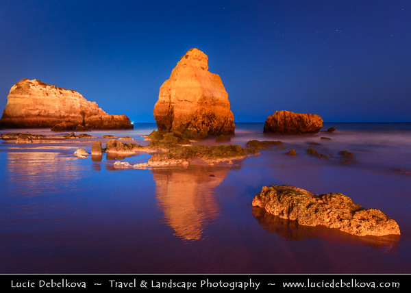 Europe - Portugal - Algarve Region - Praia da Rocha - Rocha Beach near Portimao - Atlantic south coast beach with fine gold sand, crystal clear water & backed by golden limestone cliffs