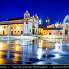 Europe - Portugal - Algarve Region - Lagos - Old historical town at the mouth of the river Bensafrim along the Atlantic Ocean - Oceano Atlântico - Praça Infante Dom Henrique Square - Igreja de Santa Maria - Santa Maria Church at Dusk - Twilight - Blue Hour