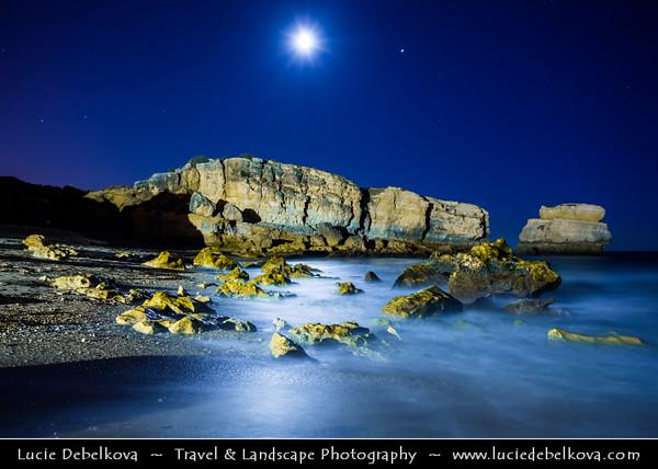Europe - Portugal - Algarve Region - Praia de São Rafael - Sao Rafael Beach near Albufeira - Atlantic south coast beach with fine gold sand, crystal clear water & backed by golden limestone cliffs