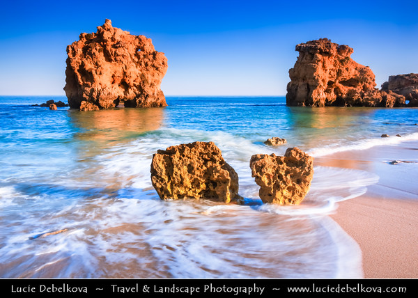 Europe - Portugal - Algarve Region - Praia de São Rafael - Sao Rafael Beach near Albufeira - Atlantic south coast beach with fine gold sand, crystal clear water & backed by golden limestone cliffs