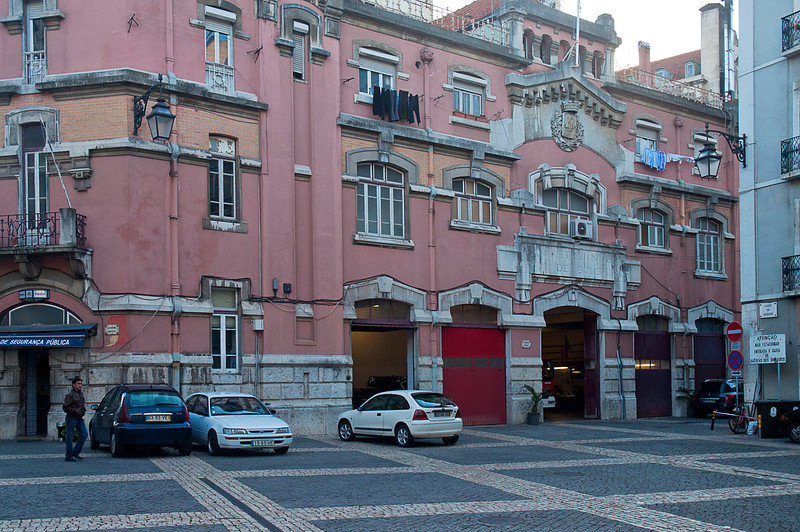 The police and fire station off Rossio Square; the pre-cursor of the Lisbon Corpo de Bombieros -- of which you can see over the lintel this is Quartel No 8 -- was created on August 25, 1325.<br /> <br /> This gorgeous, shambling early nineteenth century structure was directly below our hotel room window. I wish we had had more time, I would like to have tried to wangle a tour inside to see if it had remnants of stalls, tack rooms and the grand pool table I have since found pictured on a website dedicated to the history of the Corpo.