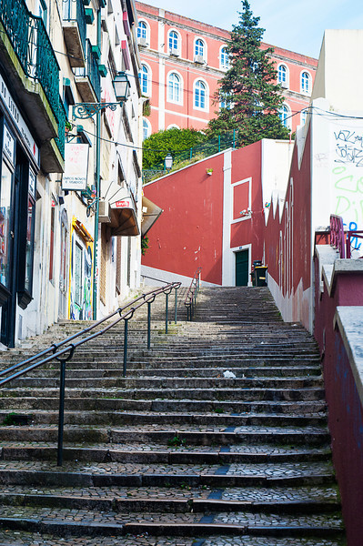 Steps up to the Barrio Alta from Baixa/Chiado