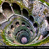 Europe - Portugal - Sintra-Cascais Natural Park - Cultural Landscape of Sintra - Quinta da Regaleira complex - UNESCO World Heritage Site - Magical town full of palaces & other fine residences and full of history from prehistoric times - The Masonic Initiation Well of Quinta da Regaleira - 27-meter spiral staircase with several small landings