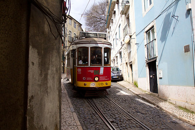Tram 28 in the Alfama district of Lisbon. Copyright 2013, Tom Farmer.