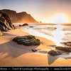 Europe - Portugal - Lisboa Region - Sintra-Cascais Natural Park - Sintra - Praia da Adraga - Adraga beach near Colares - North Atlantic beach with stunning scenery of cliffs, jagged rock out crops and golden sand - Considered by The Sunday Times one of the 20 most beautiful beaches in Europe