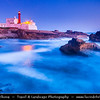 Europe - Portugal - Lisboa Region - Sintra-Cascais Natural Park - Cabo da Roca - Cape Raso - Farol do Cabo Raso - Lighthouse Cabo Raso at Dusk - Twilight - Blue Hour - Night