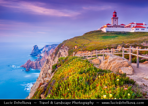 Europe - Portugal - Lisboa Region - Sintra-Cascais Natural Park - Cabo da Roca - Cape Roca - The westernmost extent of mainland Portugal & continental Europe (and by definition the Eurasian land mass) - Lighthouse on the cliff