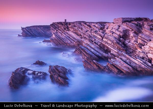 Europe - Portugal - Região Centro - Central Region -  Baleal - Rocky peninsula on shores of North Atlantic - Unusual  Limestone Cliffs at Baleal Peninsula at Sunset