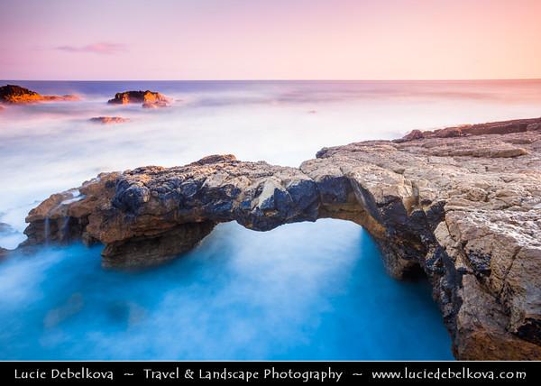 Europe - Portugal - Lisboa Region - Sintra-Cascais Natural Park - Cabo da Roca - Cape Raso - Stone Bridge at Sunrise