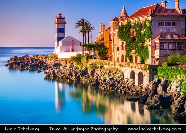 Europe - Portugal - Lisbon Surrounding - Estoril Coast - Cascais - Coastal resort - Santa Marta Lighthouse at Sunrise