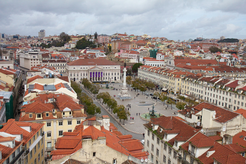 Figueira Square, Lisbon, from the top of the Elevador de Santa Justa<br /> Copyright 2013, Tom Farmer