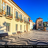 Europe - Portugal - Lisbon Surrounding - Estoril Coast - Cascais - Coastal resort - Patterned mosaic paving leads the eye to the statue of Dom Pedro at Early Morning Sunrise
