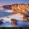 Europe - Portugal - Região Centro - Central Region -  Baleal - Rocky peninsula on shores of North Atlantic - Unusual  Limestone Cliffs at Baleal Peninsula during late evening light