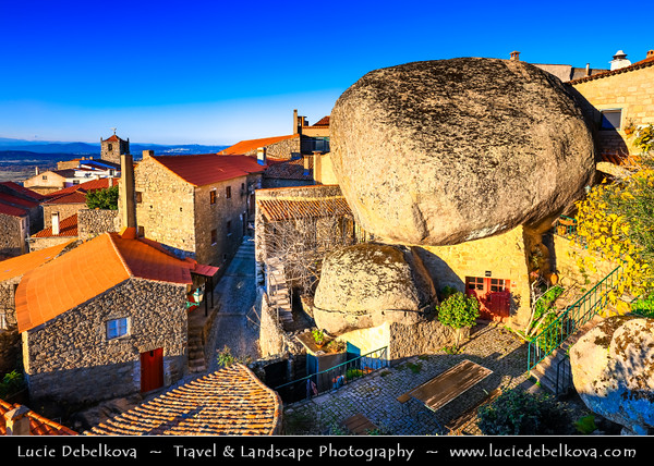 Europe - Portugal - Região Centro - Central Region - Monsanto - Stunning Medieval Mountaintop Portuguese village build in and around gigantic 200-tonne boulders at 2486feet above sea level