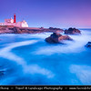 Europe - Portugal - Lisboa Region - Sintra-Cascais Natural Park - Cabo da Roca - Cape Raso - Farol do Cabo Raso - Lighthouse Cabo Raso at Dusk - Twilight - Blue Hour - Night