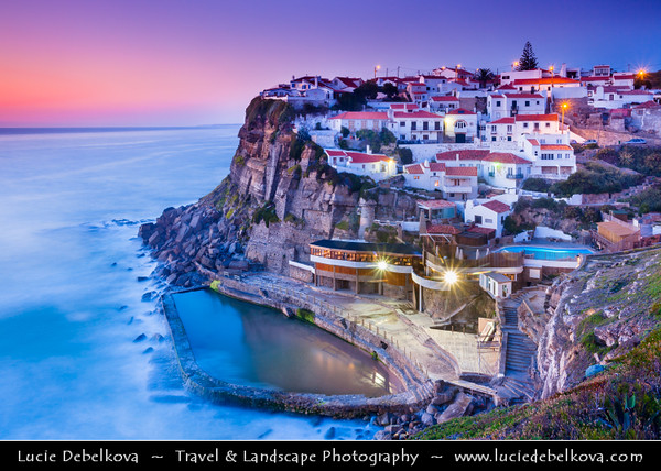 Europe - Portugal - Lisboa Region - Sintra-Cascais Natural Park - Azenhas do Mar - Belvedere built on cliffs that drop fearlessly to the ocean & Natural pools