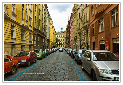 A street lined with historic buildings in the Old Town Square in Prague, Czech Republic