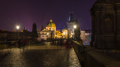 Charles Bridge at night.