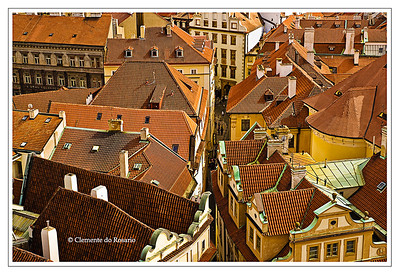 A view of the rooftops from the Astronomical Clock  tower in Prague Czech Republic